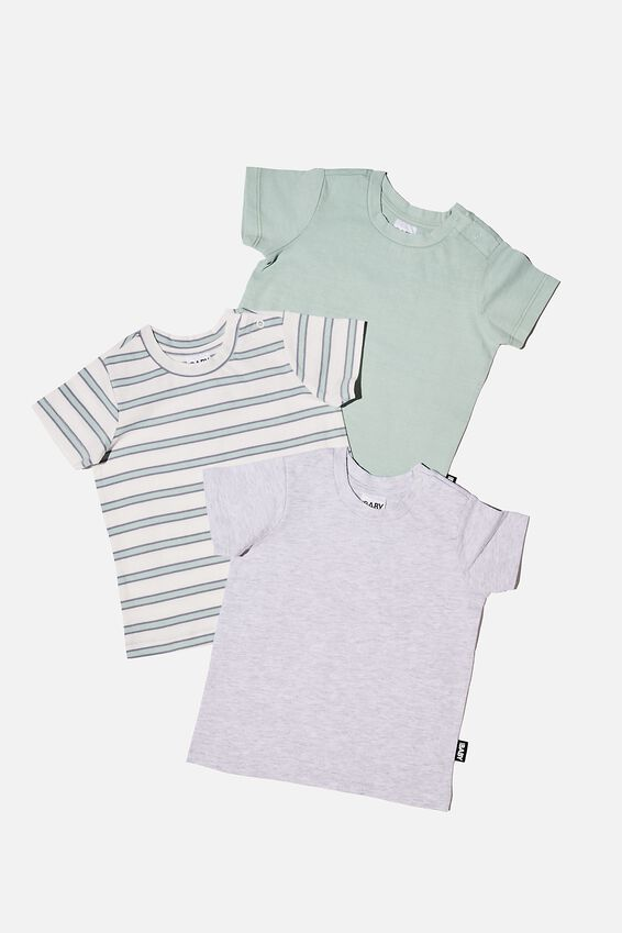 3 Pack Jamie Short Sleeve Tee, DUCK EGG STRIPE/CLOUD MARLE/DUCK EGG