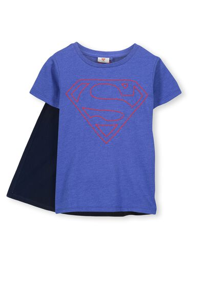 Ss Licence Cape Tee, SCUBA BLUE MARLE/SUPERMAN STITCH
