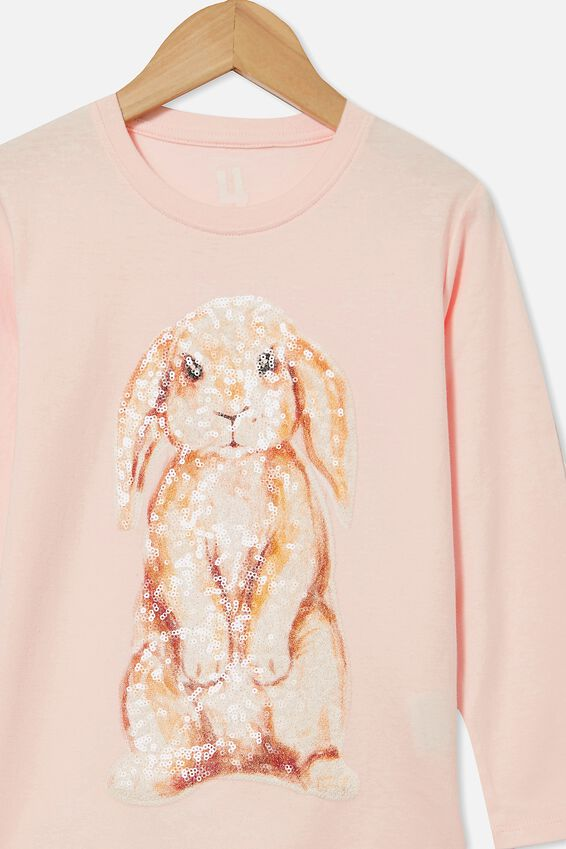 Stevie Long Sleeve Embellished Tee, CRYSTAL PINK/ WATERCOLOUR BUNNY