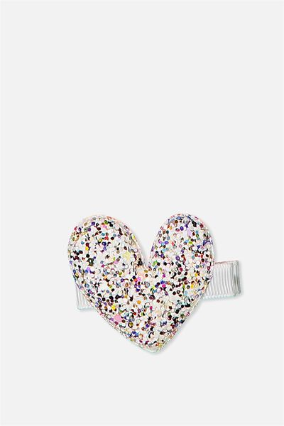Fashion Hair Clips, PADDED HEART/GLITTER