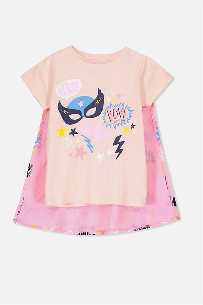 Anna Ss Tee, SHELL PEACH INT/SUPER HERO CAPE/SET IN