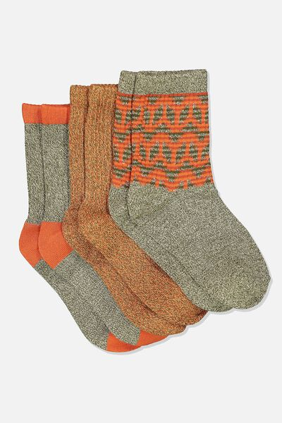 Kids 3 Pk Fashion Crew Socks, KHAKI AZTEC