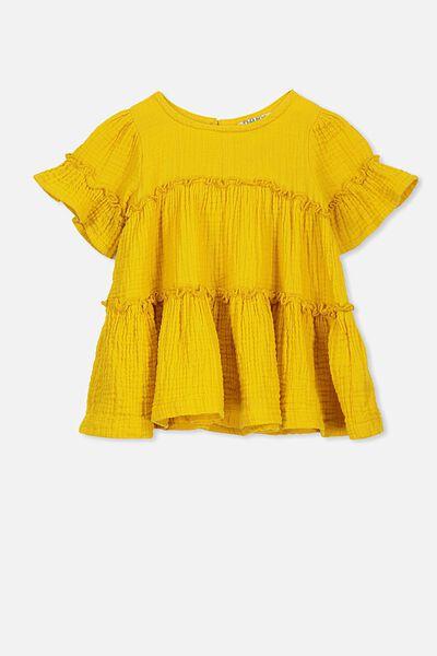 Abby Flutter Dress, GOLDEN YELLOW