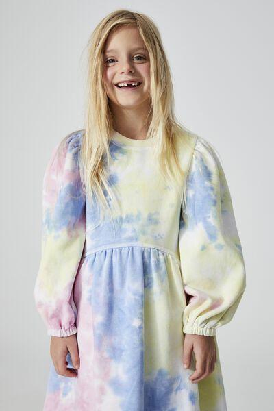 Flora Long Sleeve Dress, RAINBOW TIE DYE