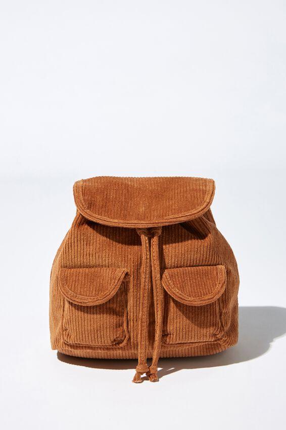 Mini Fashion Backpack, TAN CORDUROY