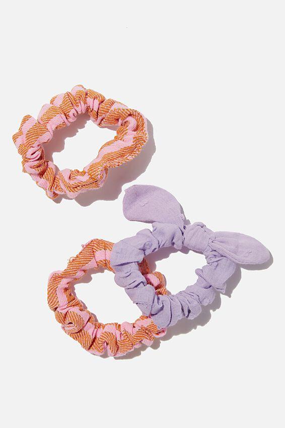 Mini Scrunchie, PINK AMBER STRIPE