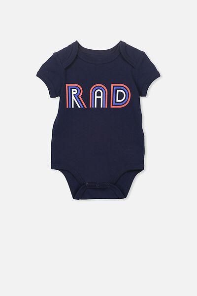 Mini Short Sleeve Bubbysuit, PEACOAT/RAD