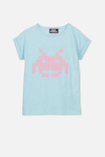Lux Short Sleeve Retro Tee, PLUME MARLE/SPACE INVADERS