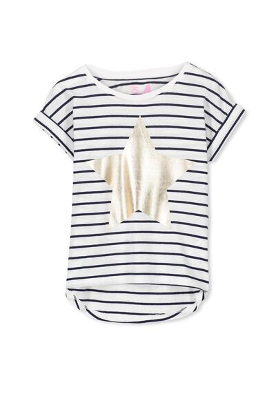 Penelope Short Sleeve Roll Up Tee, PEACOAT/STRIPE STAR