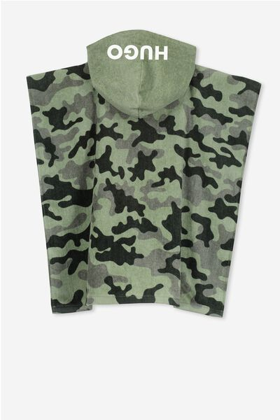 Personalised Hooded Towel, GREEN CAMO PERSONALISED