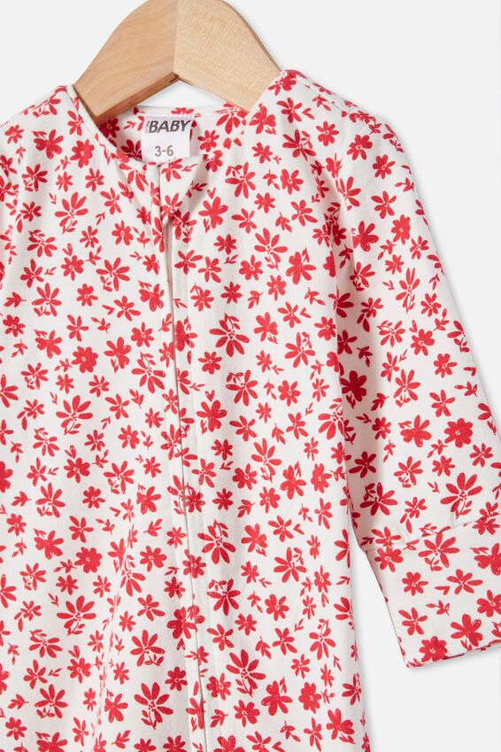 The Long Sleeve Zip Romper, VANILLA/LUCKY RED TAYLOR FLORAL