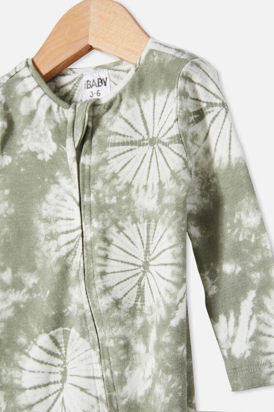 The Snug Long Sleeve Zip Romper, SILVER SAGE TIE DYE