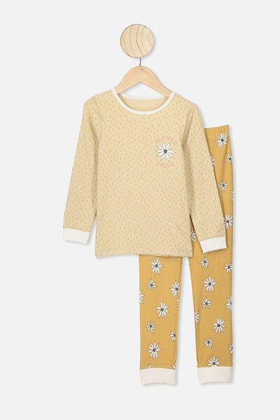 Ruby Long Sleeve Girls Pyjamas, SEMOLINA/FLOWER CHILD