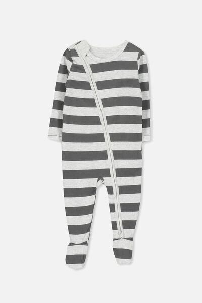 Sleep Mini Zip All In One Jumpsuit, CLOUD MARLE/GRAPHITE GREY STRIPE