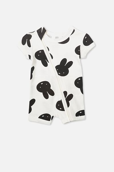 License Ss Zip Through Romper, VANILLA/OVERSIZED MIFFY