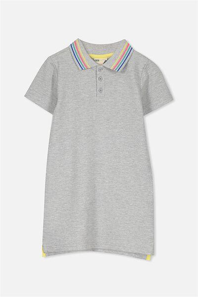 Blaire Polo Dress, LT GREY MARLE/RAINBOW COLLAR