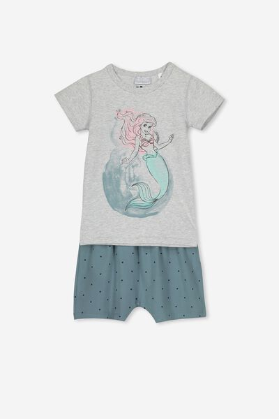 Harpa Ss Pj Set, LCN DIS LITTLE MERMAID/GREY MARLE