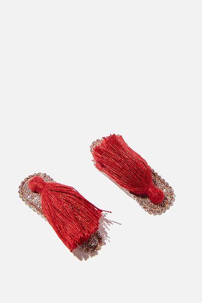 Hair Clip- Glitter Tassel, RED GLITTER TASSEL