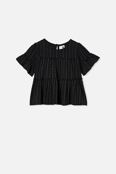 Frida Short Sleeve Frill Top, BLACK
