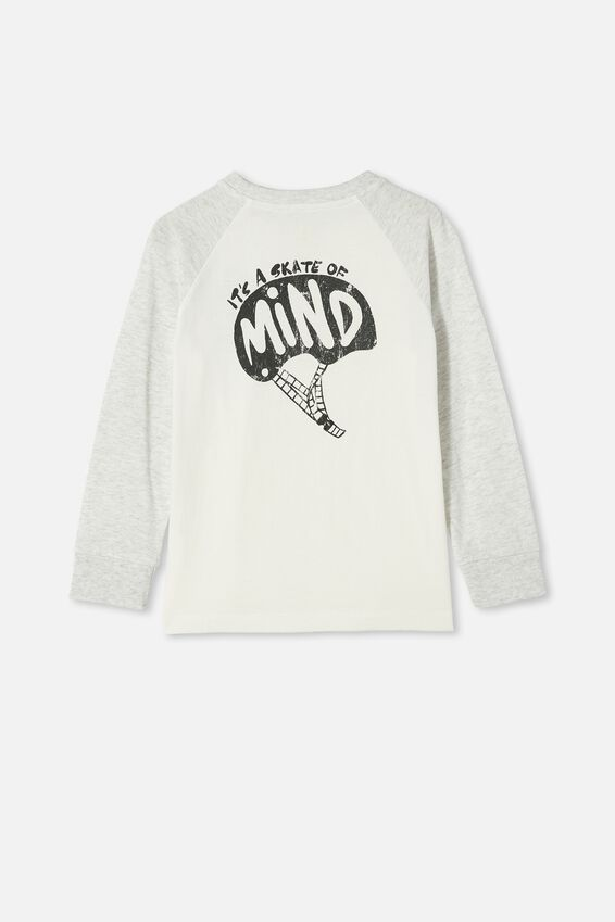 Tom Long Sleeve Raglan Tee, SUMMER GREY MARLE / ITS A SKATE OF MIND