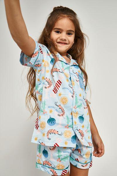 Riley Kids Unisex Short Sleeve Pyjama Set, SHRIMPY XMAS/FROSTY BLUE