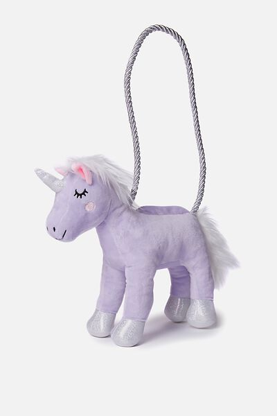 Plush Animal Bag, DUSTY LILAC/UNICORN