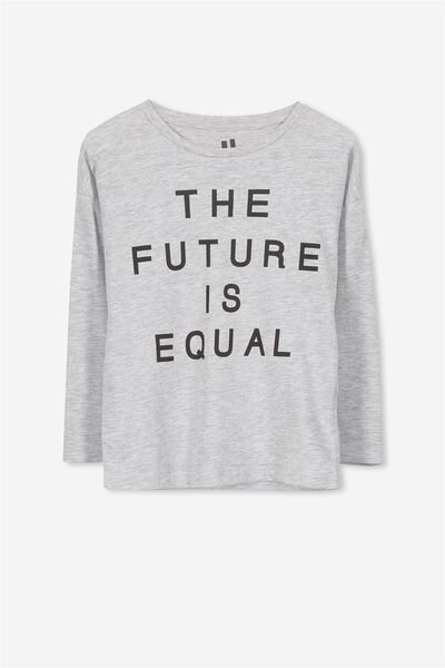 Penelope Long Sleeve Tee, LIGHT GREY/THE FUTURE IS EQUAL/DROP
