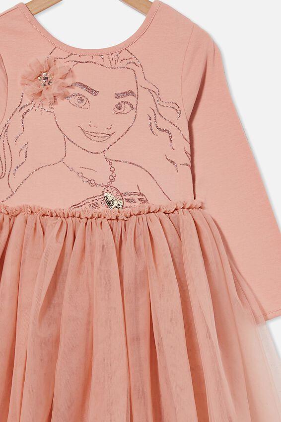 Disney Ivy Long Sleeve Dress, LCN DIS/BRICK DUST/MOANA