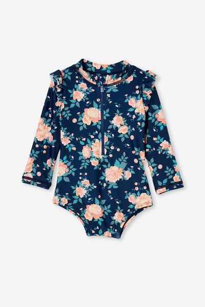 Nicky Long Sleeve Ruffle Swimsuit, INDIGO/RETRO CORAL WHITBY FLORAL