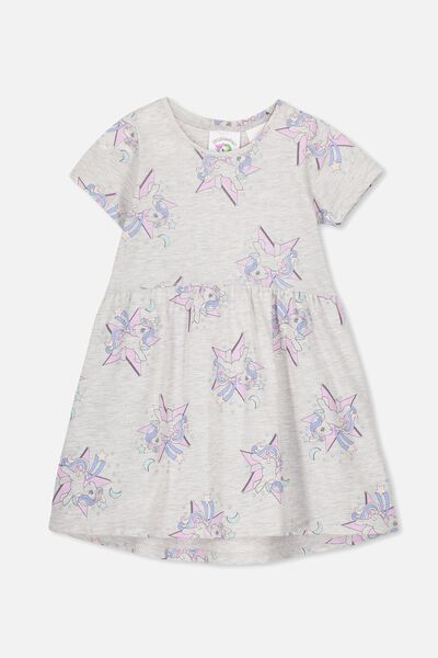 Freya Short Sleeve Dress, LCN HAS SUMMER GREY MARLE/MY LITTLE PONY