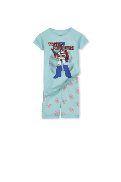 Angus Boys Short Sleeve PJ Set, TRANSFORMER GRID