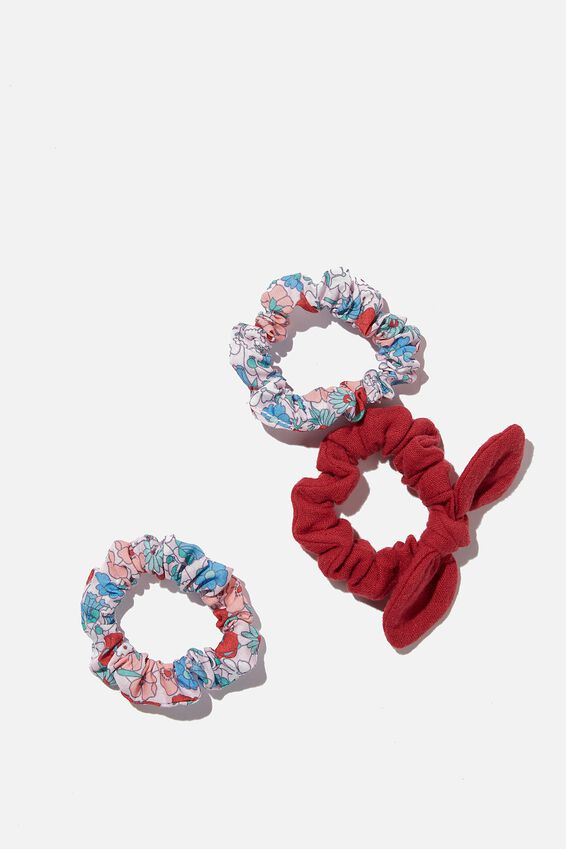 Mini Scrunchies - Poplin, RED LIBBY FLORAL