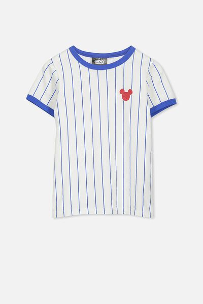 Lux Short Sleeve Tee, MICKEY BASEBALL STRIPE/RINGER