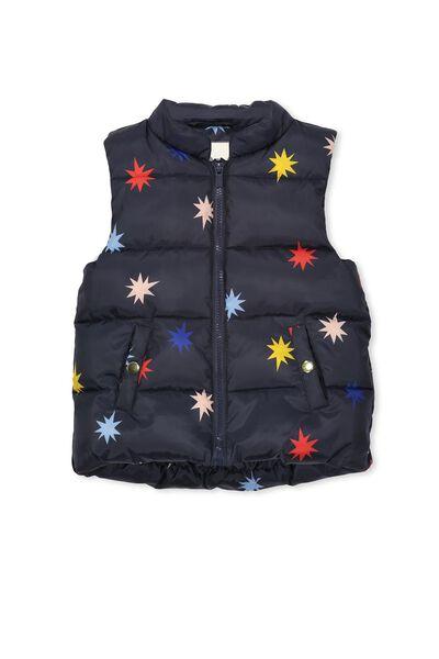 Matilda Puffer Vest, TWILIGHT/MULTI STAR BURST