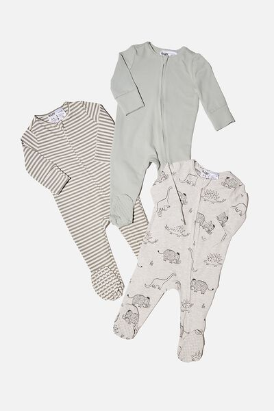 3 Pack Long Sleeve Zip Romper, DINO MAMMOTH/STONE GREEN/SILVER SAGE STRIP