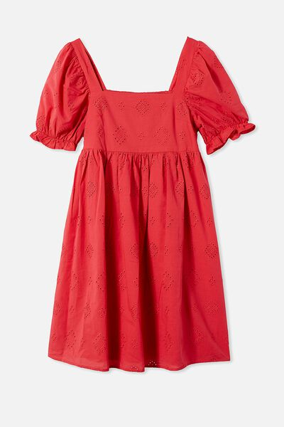Mama Lucy Short Sleeve Dress, LUCKY RED
