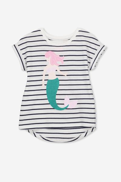 Penelope Short Sleeve Roll Up Tee, PEACOAT STRIPE/SAVE OUR MERMAIDS