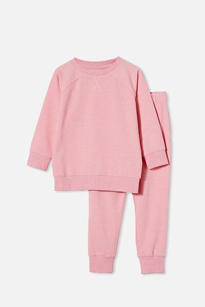 Sadiye Long Sleeve Pyjama Set, SPACE DYE/CRYSTAL PINK