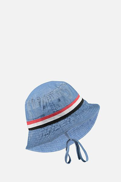 Baby Bucket Hat, CHAMBRAY/SPORTS STRIPE