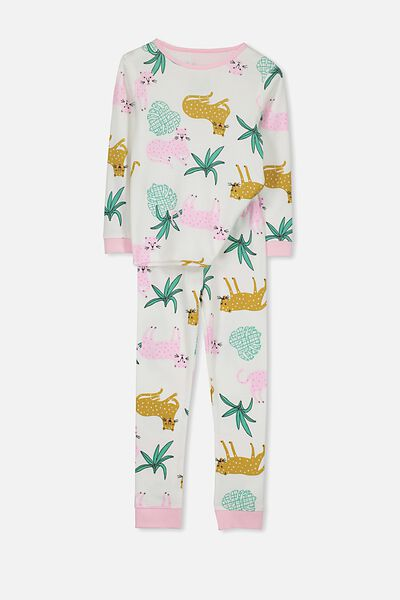 Alicia Long Sleeve Girls PJ Set, TROPICAL CAT