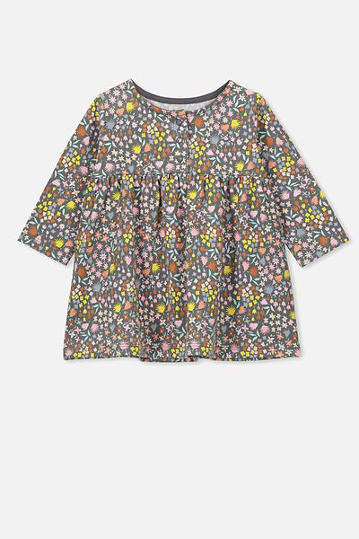 Molly Long Sleeve Dress, RABBIT GREY/MIA FLORAL