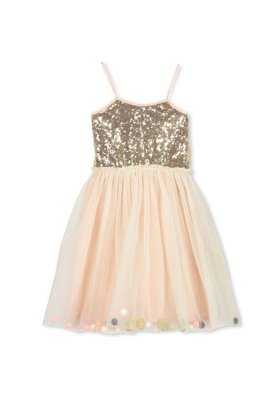 Iris Tulle Dress, FLOSS PINK/BELLS & POM POMS