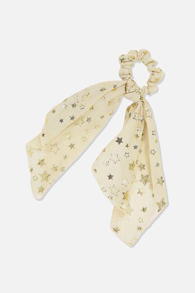 Scarf Scrunchie, VANILLA GOLDY STARS