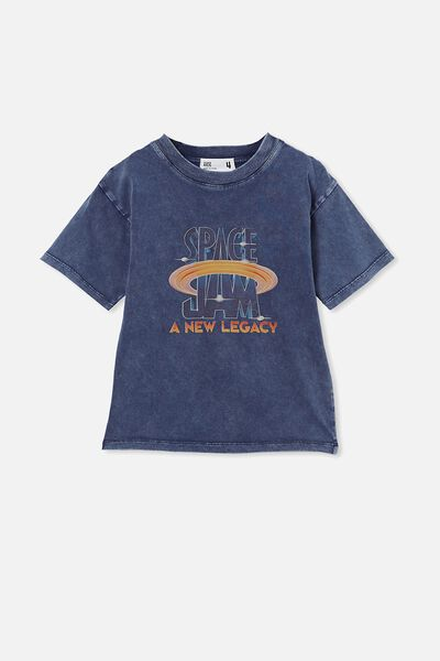 License Drop Shoulder Short Sleeve Tee, LCN WB NAVY BLAZER/ SPACE JAM LEGACY