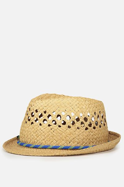 Trilby Hat, TOAST BLUE TRIM