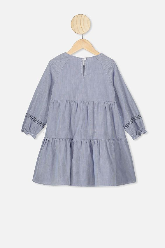 Carmen Long Sleeve Dress, VANILLA/RETRO BLUE STRIPE