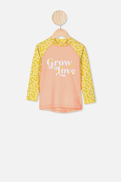 Hamilton Long Sleeve Rash Vest, SUNSHINE PAPERCUT DITSY/GROW AND LOVE