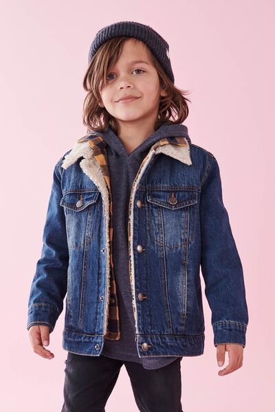 Jessie Denim Sherpa Jacket, MID BLUE WASH