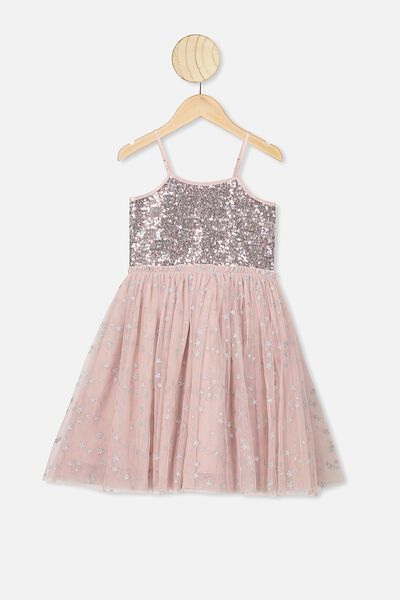 Iris Tulle Dress, SMOKEY PINK/SILVER SPARKLE STARS