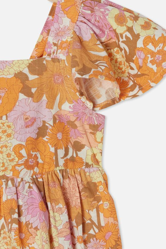 Cady Short Sleeve Dress, PEACHY BOHO FLORAL